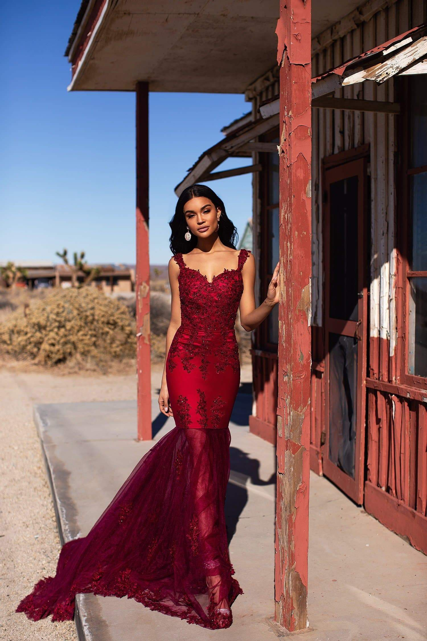 A&N Luxe Cassie - Burgundy Beaded Gown with Sweetheart Neckline