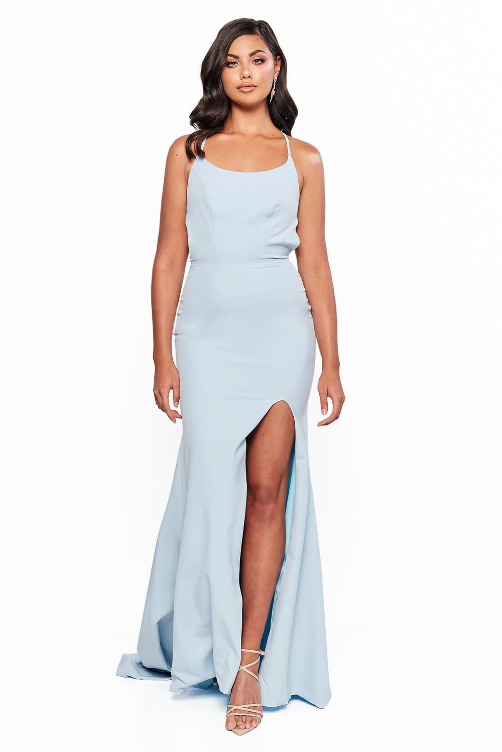 A&N Bridesmaids Evelyn - Sky Blue Gown with Lace-Up Back & Side Slit