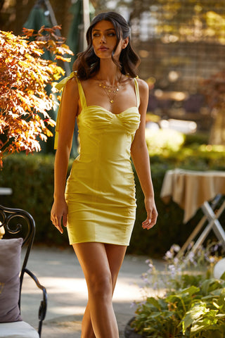 Maddalyn Dress - Yellow Mini Dress with Bustier & Tie-Up Straps