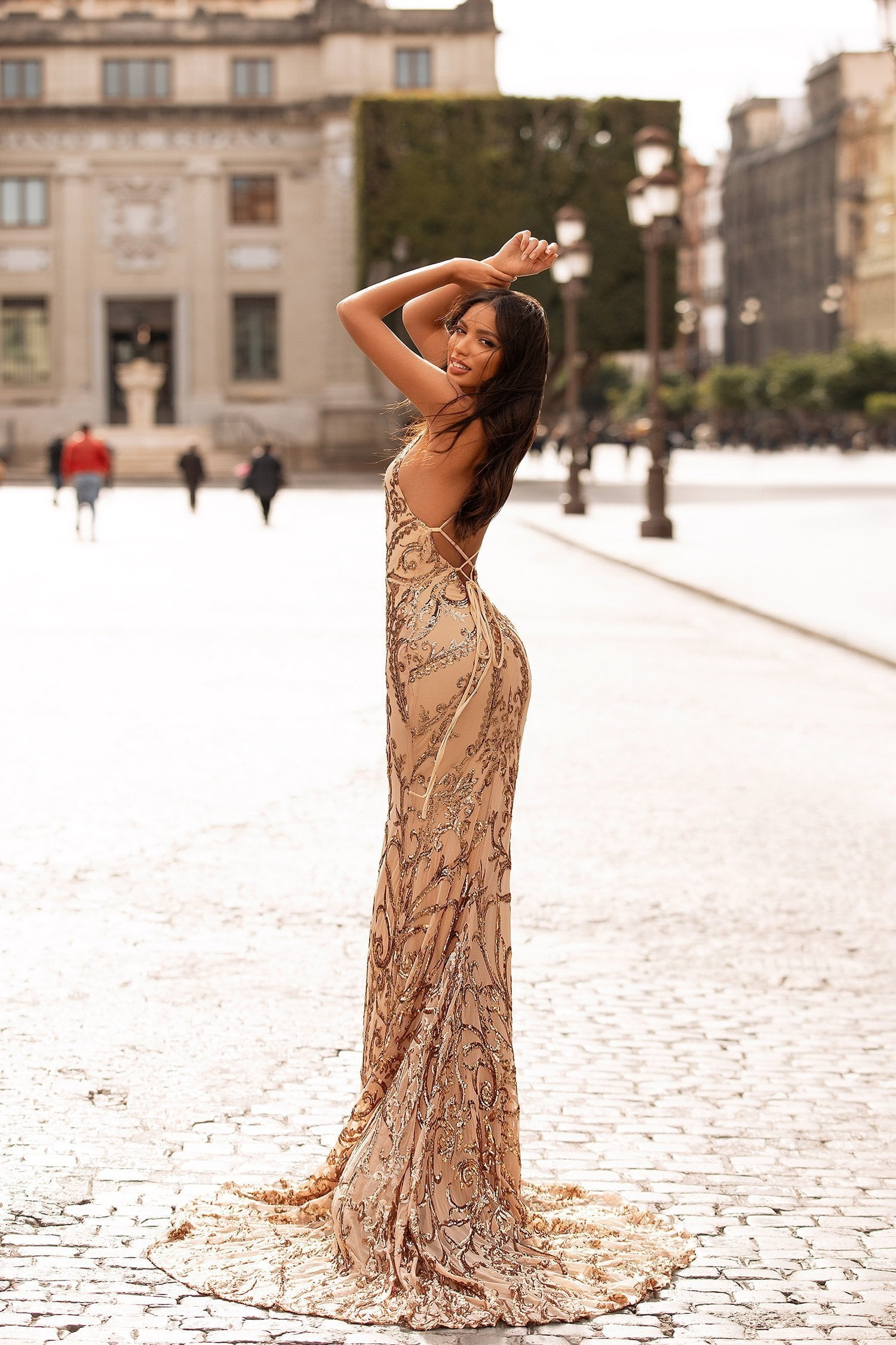Agata Sequin Gown - Gold