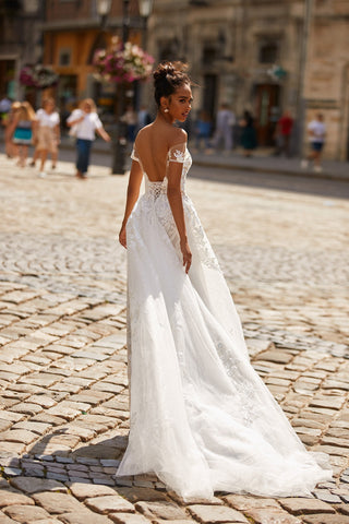 A&N Sharline - White Boho Bridal Off-Shoulder Lace & Tulle Gown