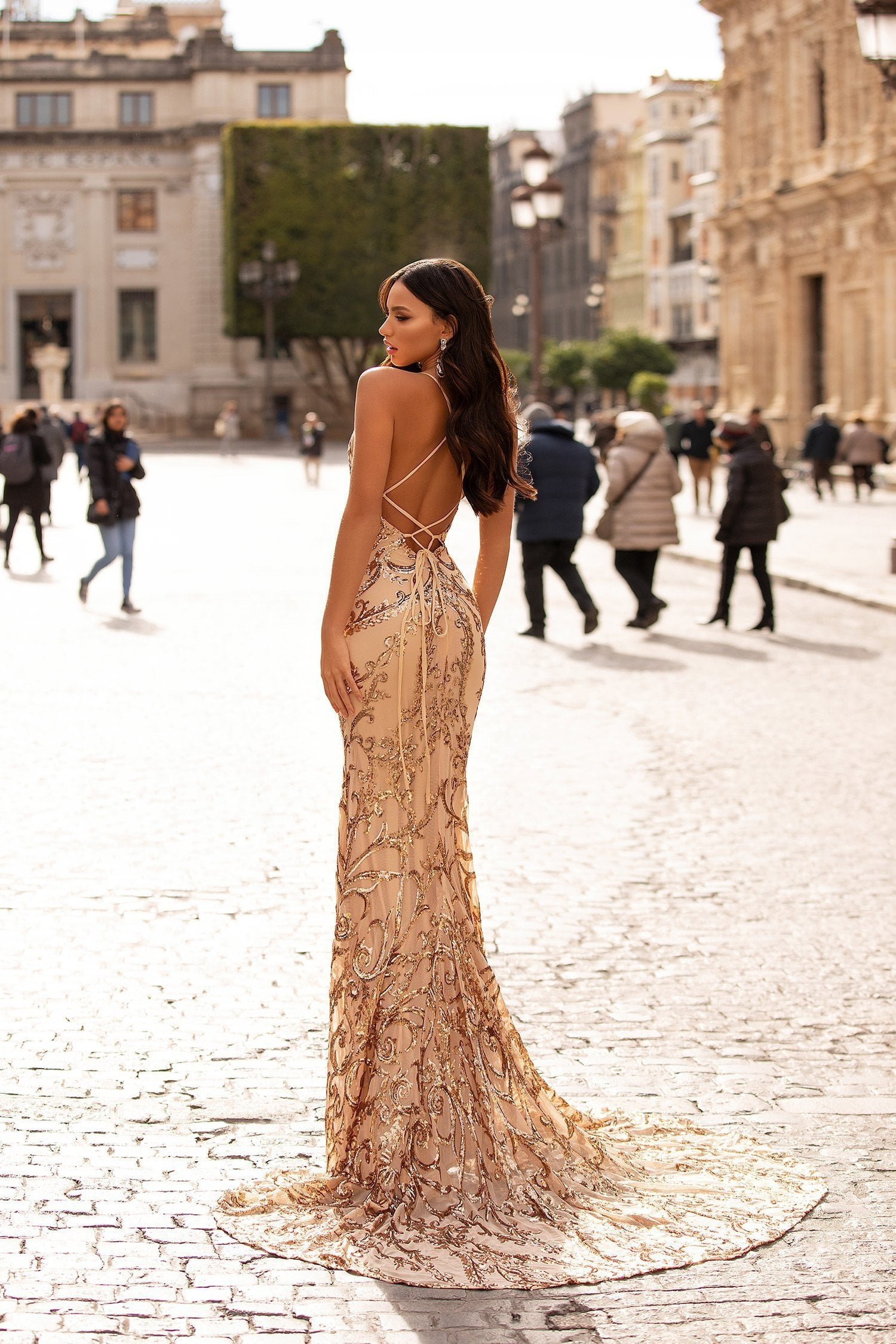 Agata - Gold Patterned Sequin Gown with Plunge Neck & Lace-Up Back
