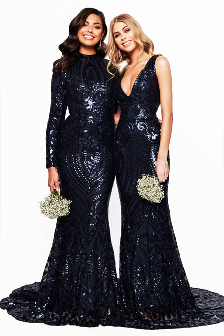 A&N Bridesmaids Amara Sequin Gown - Black