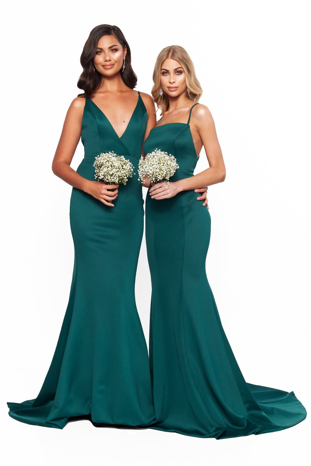 A&N Bridesmaids Jada V-Neck Backless Mermaid Ponti Gown - Emerald