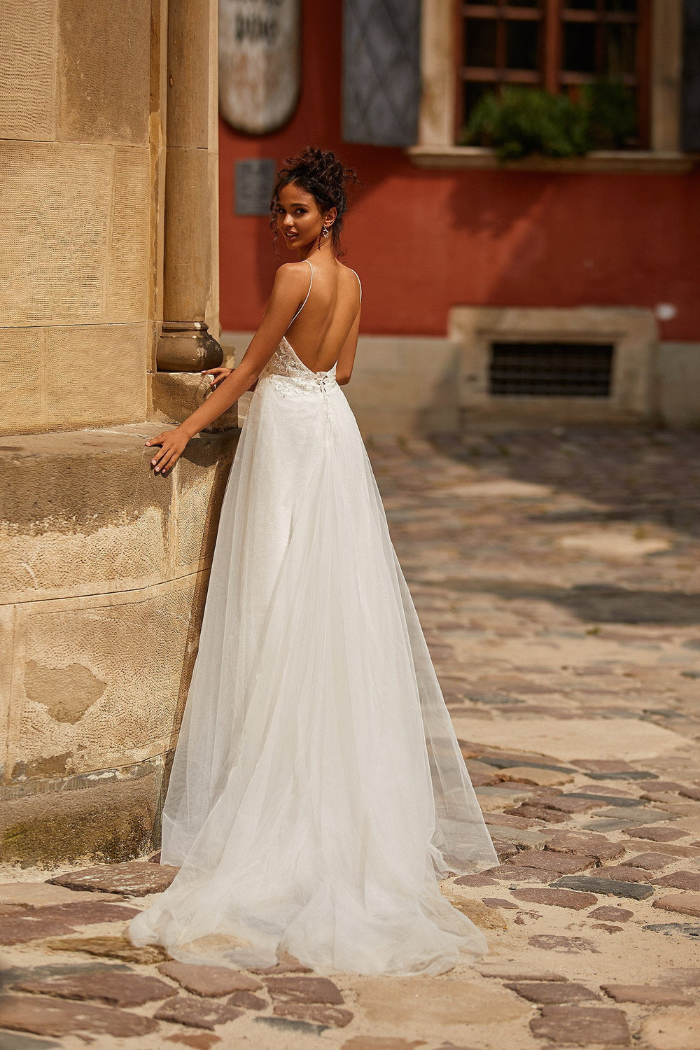 A&N Lidia - White Embellished Boho Bridal Gown with Low Back