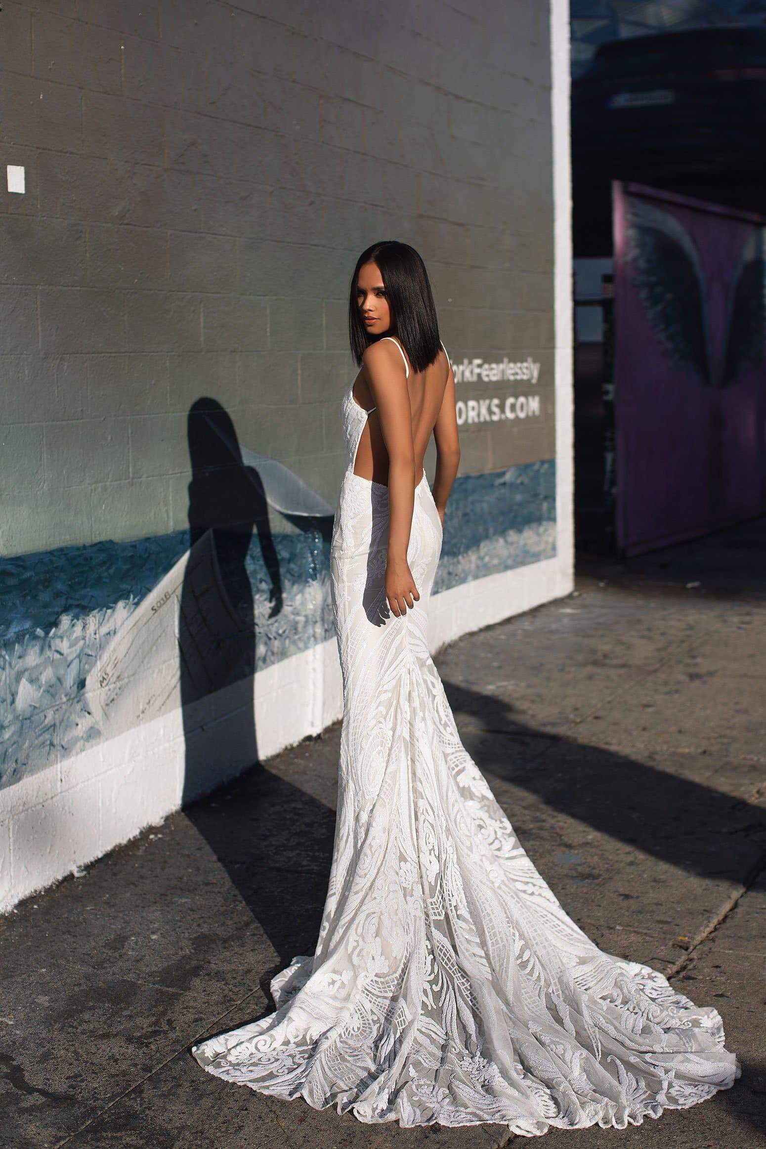 A&N Luxe Janice Gown - White Sequins Low Back Gown With Mermaid Train