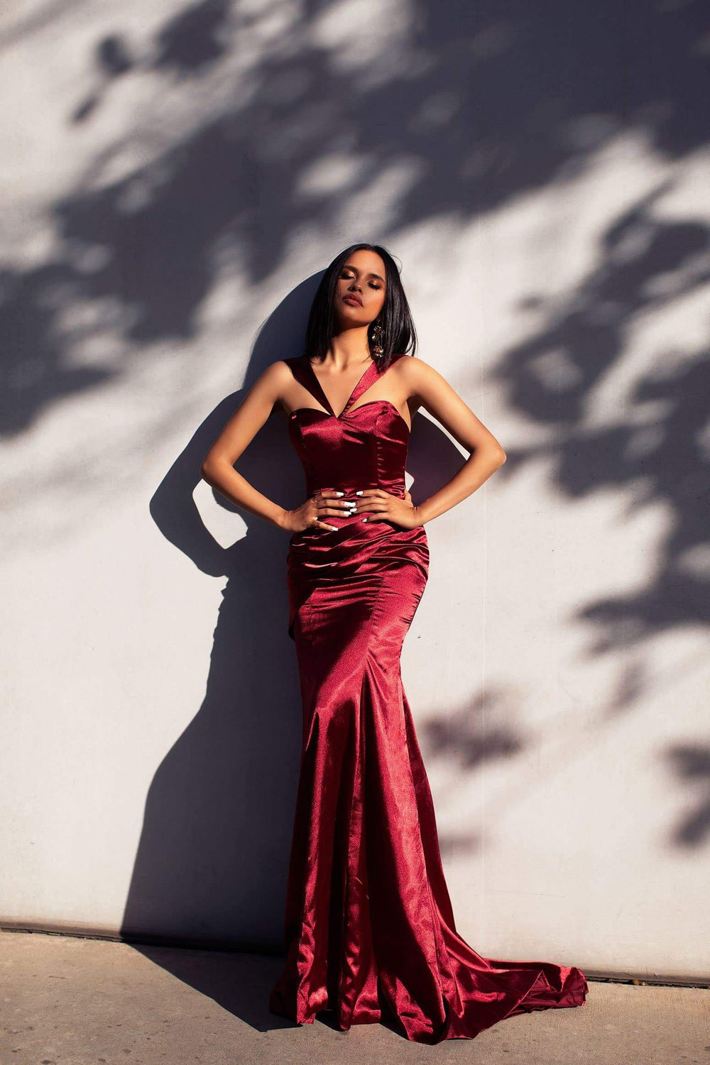 A&N Luxe Davina Satin Gown - Burgundy
