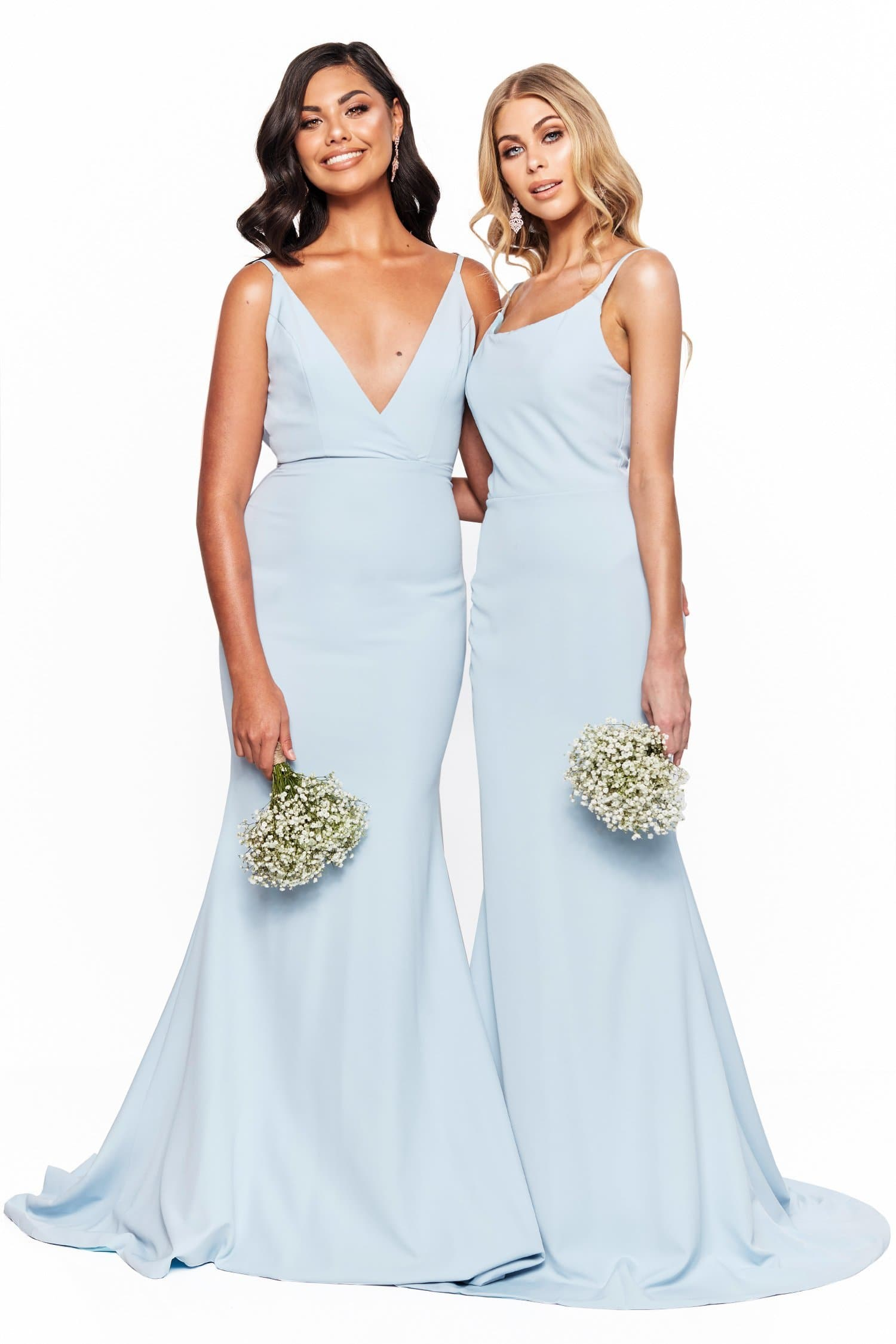 A&N Bridesmaids Jada - Sky Blue V-Neck Backless Mermaid Ponti Gown