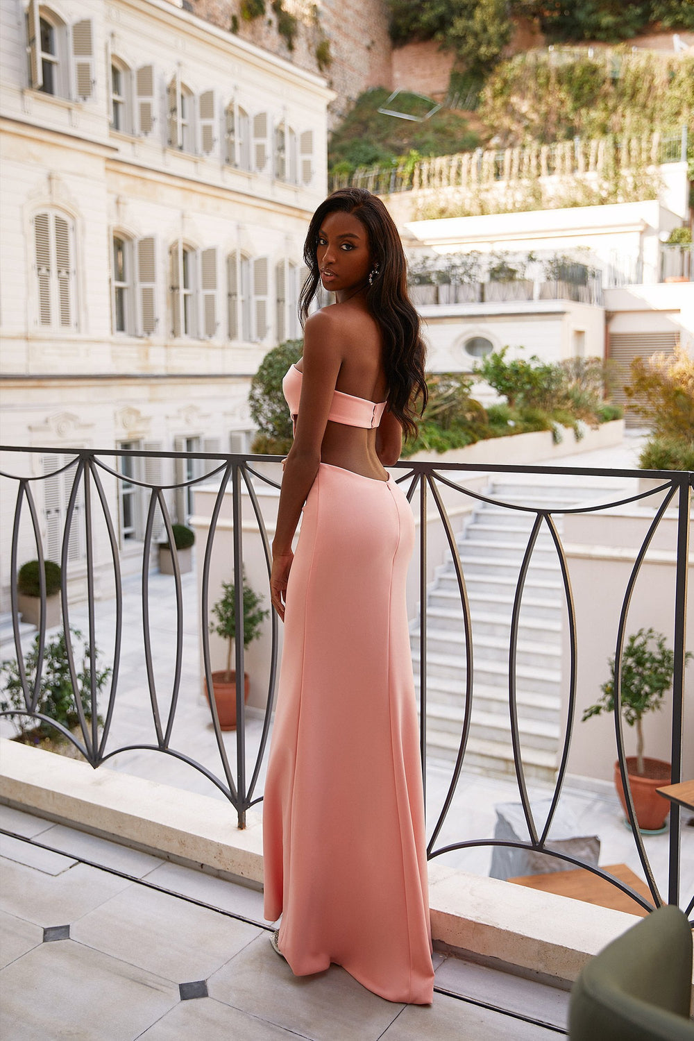 Arwen - Peach Strapless Ponti Gown with Waist Cut-Outs & Side Slit