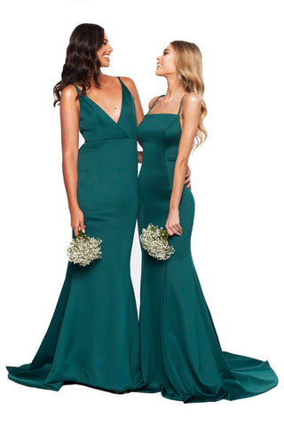 A&N Bridesmaids Amira Gown With Straight Neckline - Emerald