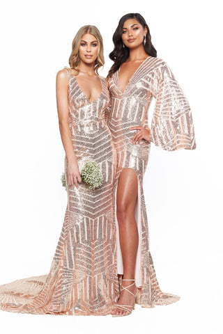 A&N Bridesmaids Chloe Kimono Sequins Gown With Slit - Rose Gold