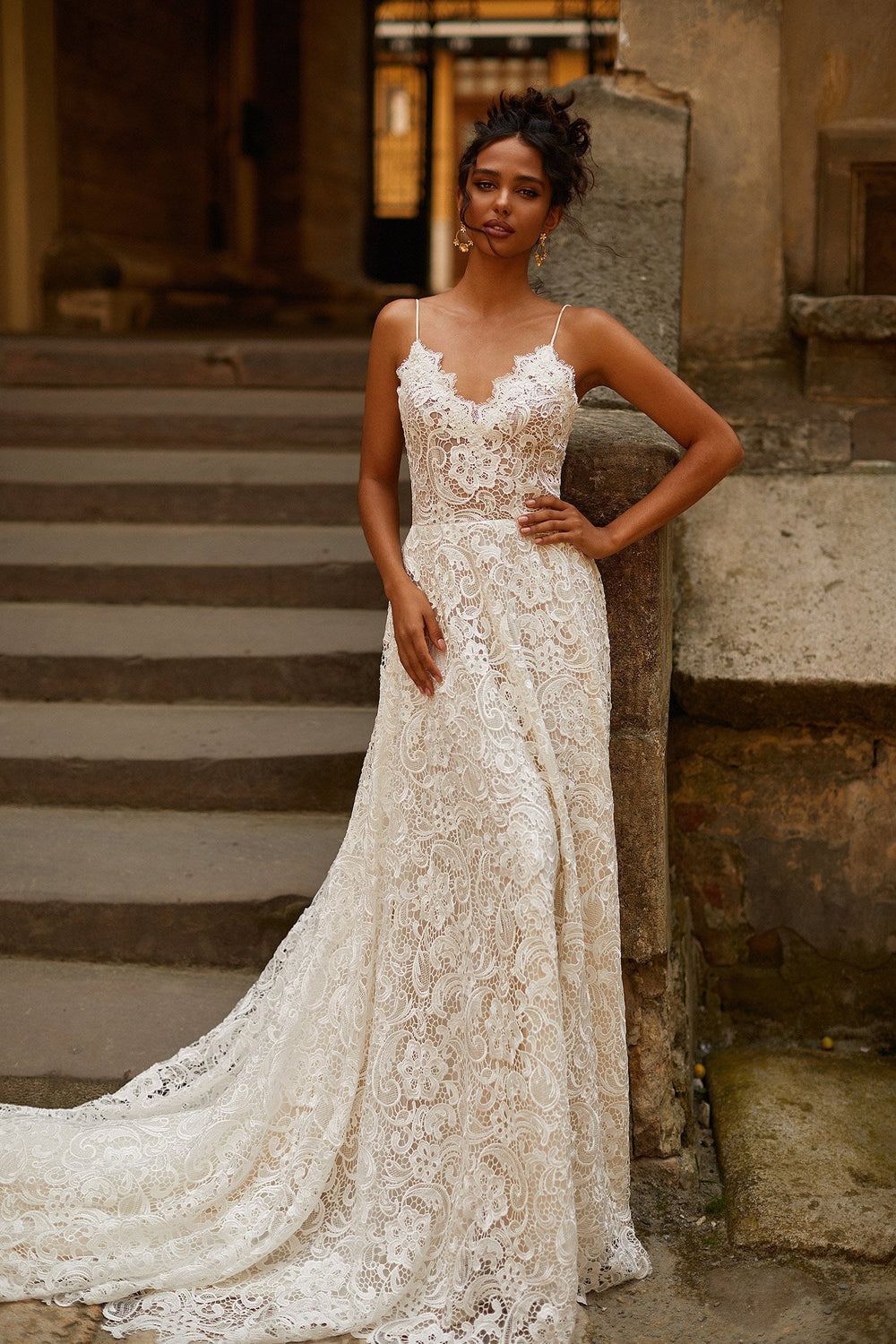 A&N Pearla - Lace Boho Bridal Gown with V-Neck & Low Back with Train