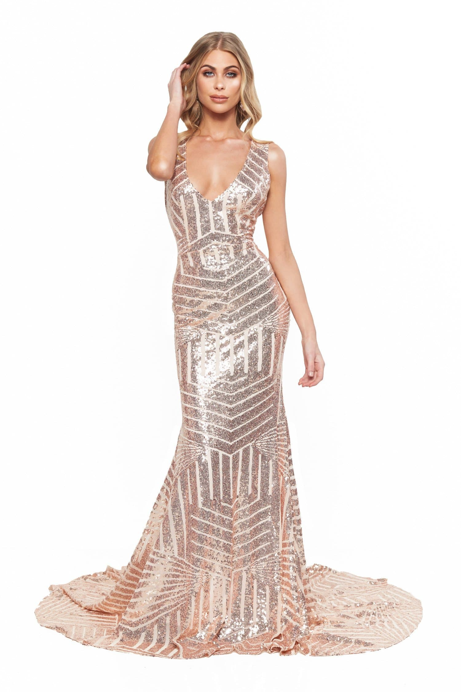 A&N Bridesmaids Serena Sequin Low Back Mermaid Gown - Rose Gold