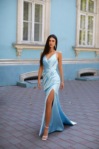 Nylah - Sky Blue Satin Gown with V-Neck, Ruching, Tie-Up Back & Slit