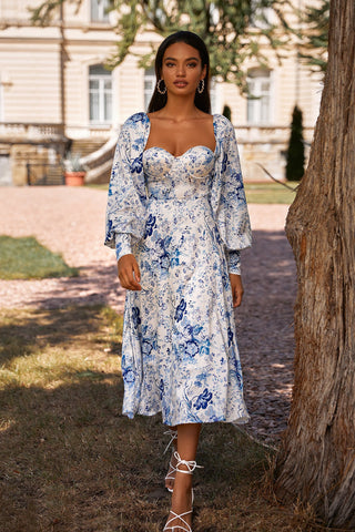 Annika - Blue & White Print Midi Dress with Long Sleeves & Bustier