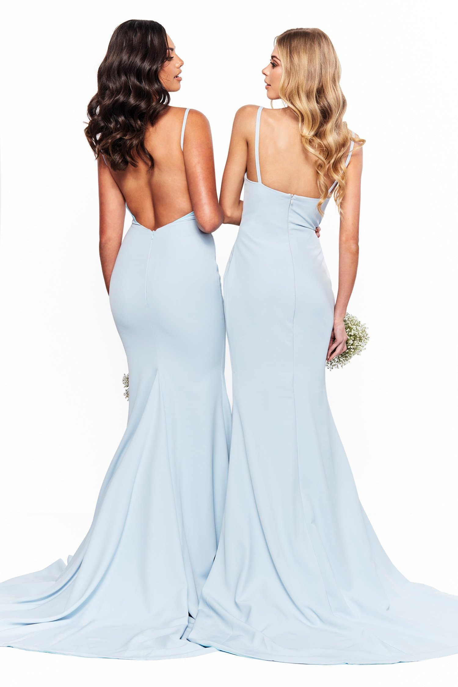 A&N Bridesmaids Imani - Sky Blue Mermaid Ponti Gown with Thin Straps