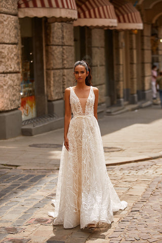 A&N Noelle - White Patterned Sequin Boho Bridal Gown with Lace-Up Back