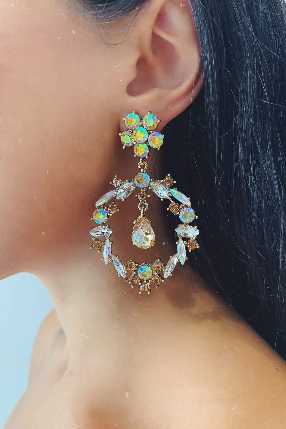 Glazori Inaya Gold Statement Earrings with Aurora Crystals