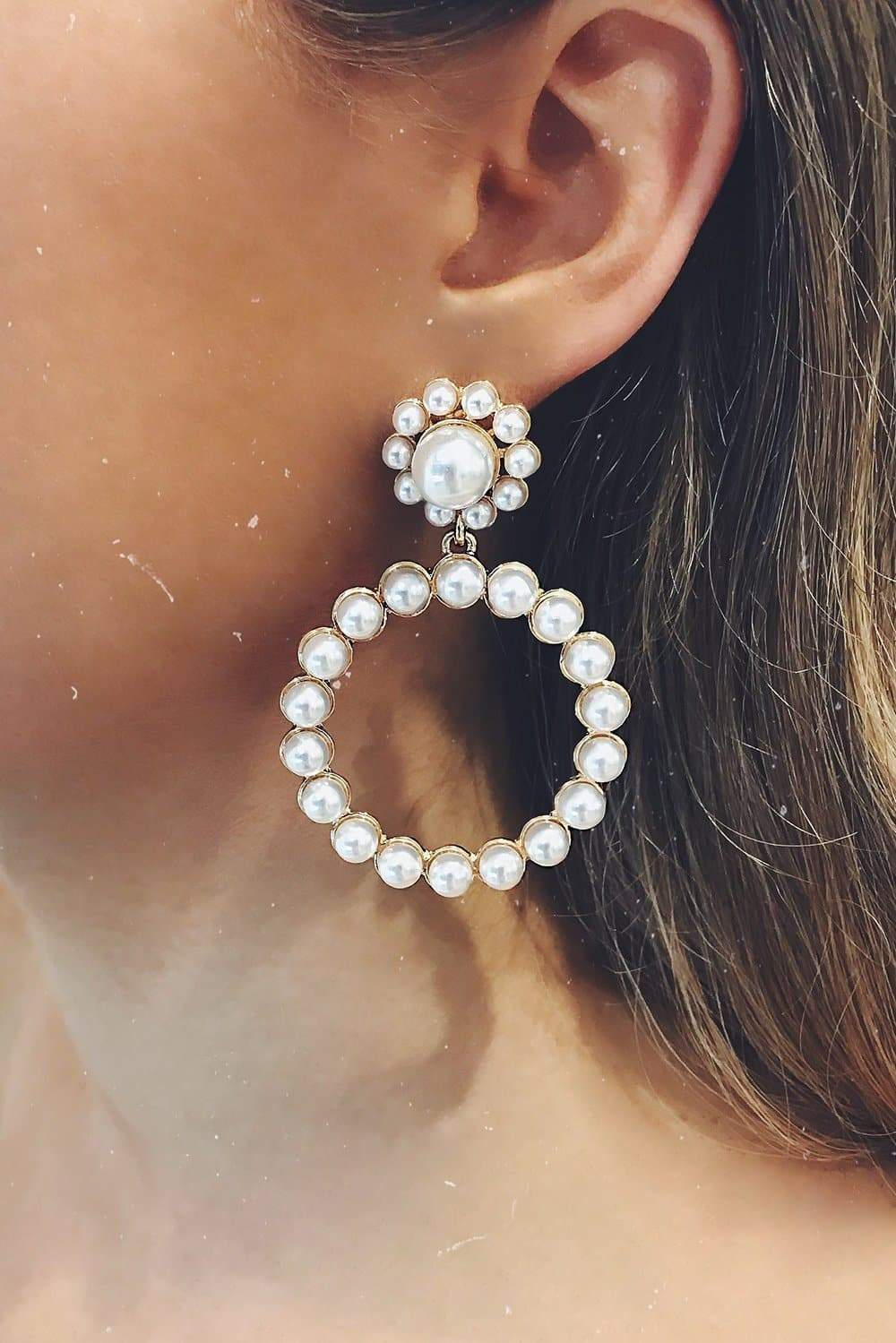 Glazori Jamilla Pearl Hoop Earrings