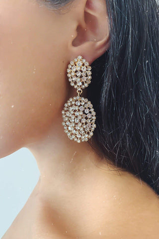 Glazori Evita Gold Drop Earrings with Silver Crystals
