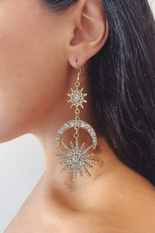 Glazori Emilie Gold Moon Statement Earrings