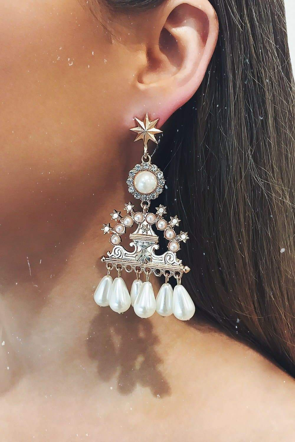 Glazori Gigi Gold Earrings with Drop Pearls