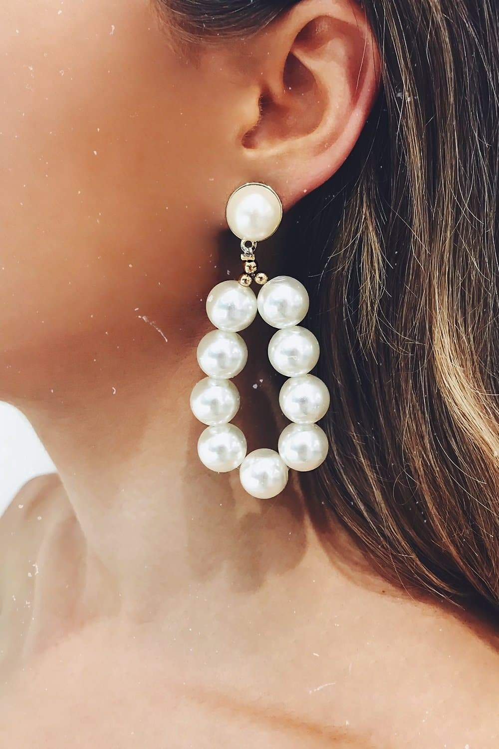Glazori Kalinda Oval Pearl Drop Earrings