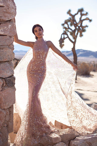 A&N Luxe Tyra -High Neck Rose Gold Glitter Cape Gown with Mermaid Train