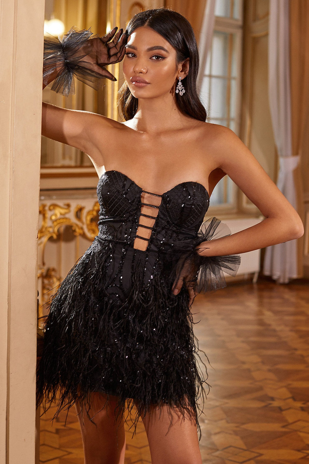 Cameron - Black Strapless Mini Dress with Sequins, Feathers & Cut Outs