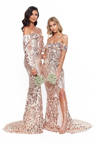 A&N Bridesmaids Amara Sequin Long Sleeve Off-Shoulder Gown - Rose Gold