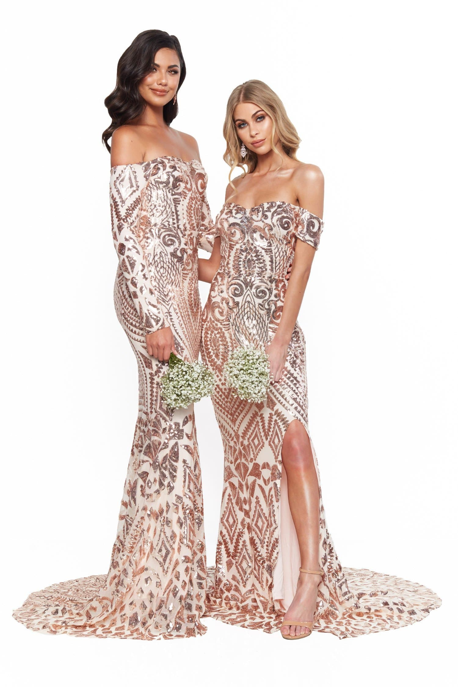 A&N Bridesmaids Isidora Sequin Long Sleeve Off-Shoulder Gown - Rose Gold