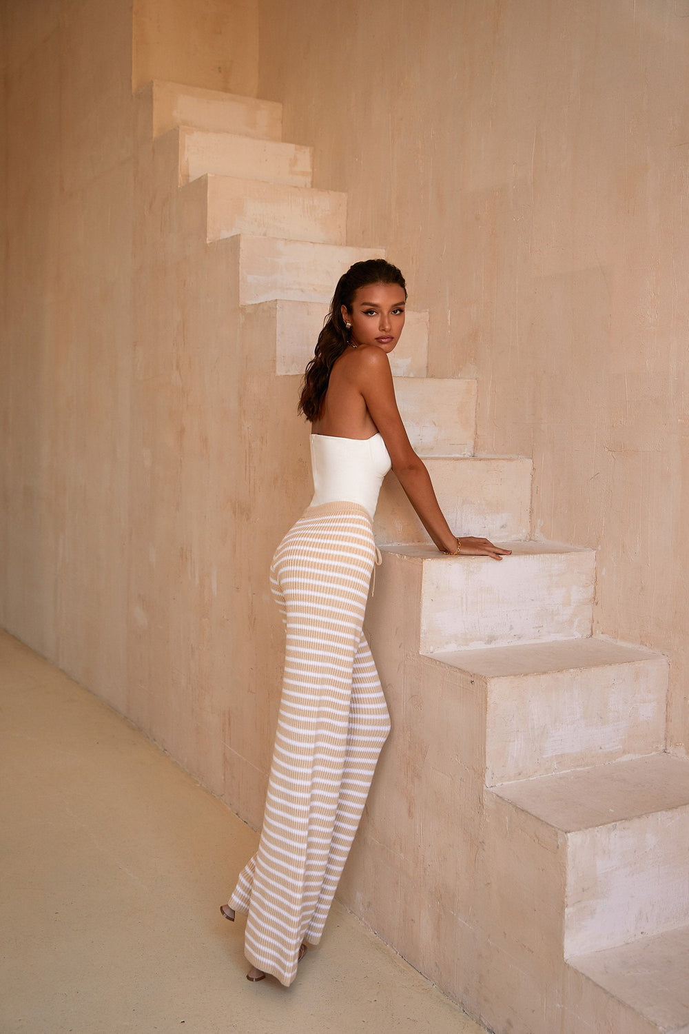 Alexa Striped Pants - High Waisted White & Beige Flared Lounge Pants