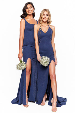 A&N Bridesmaids Felicity -Navy Shimmering Gown with Halter Neck & Slit
