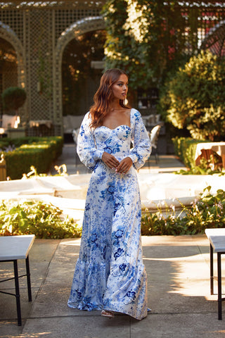 Cassie Dress - White & Blue Print Maxi Dress with Long Sleeves