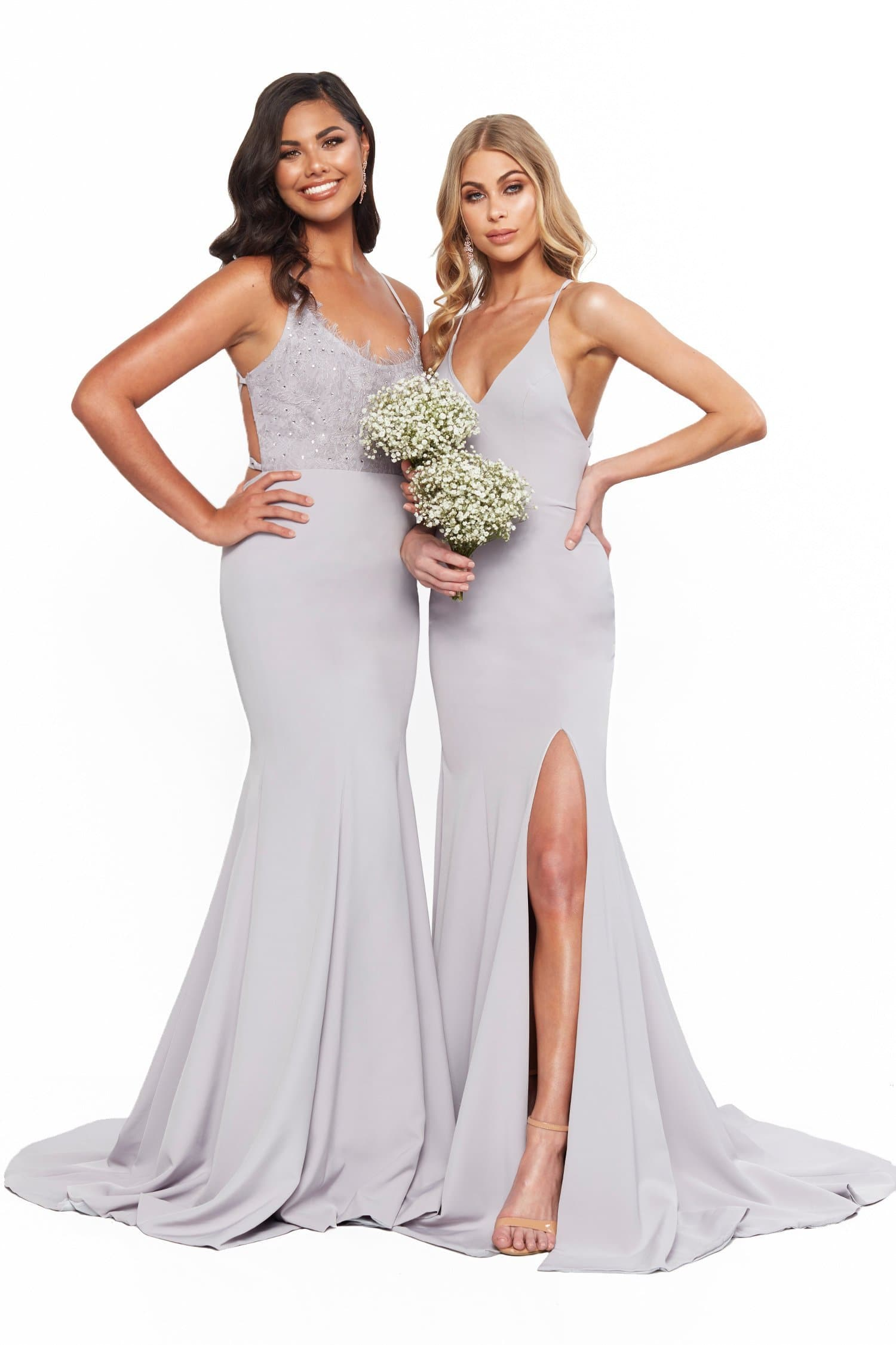 A&N Bridesmaids - Anika Grey Lilac Ponti Lace Gown with Lace-Up Back
