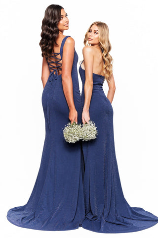 A&N Bridesmaids Karli - Navy Shimmering Gown with Lace-Up Back & Slit