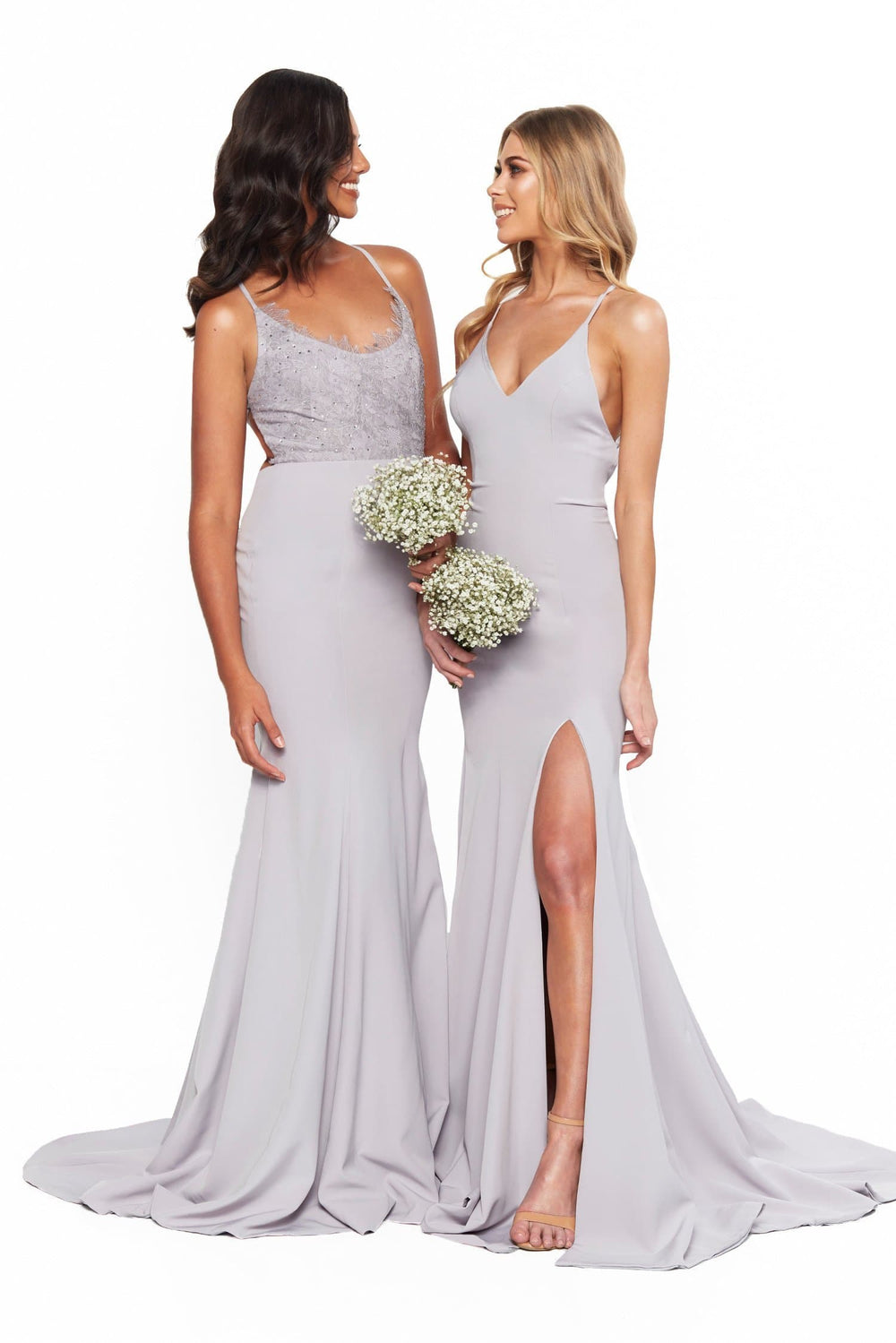 A&N Bridesmaids Emilie Lace-Up V-Neck Gown With Slit - Grey Lilac