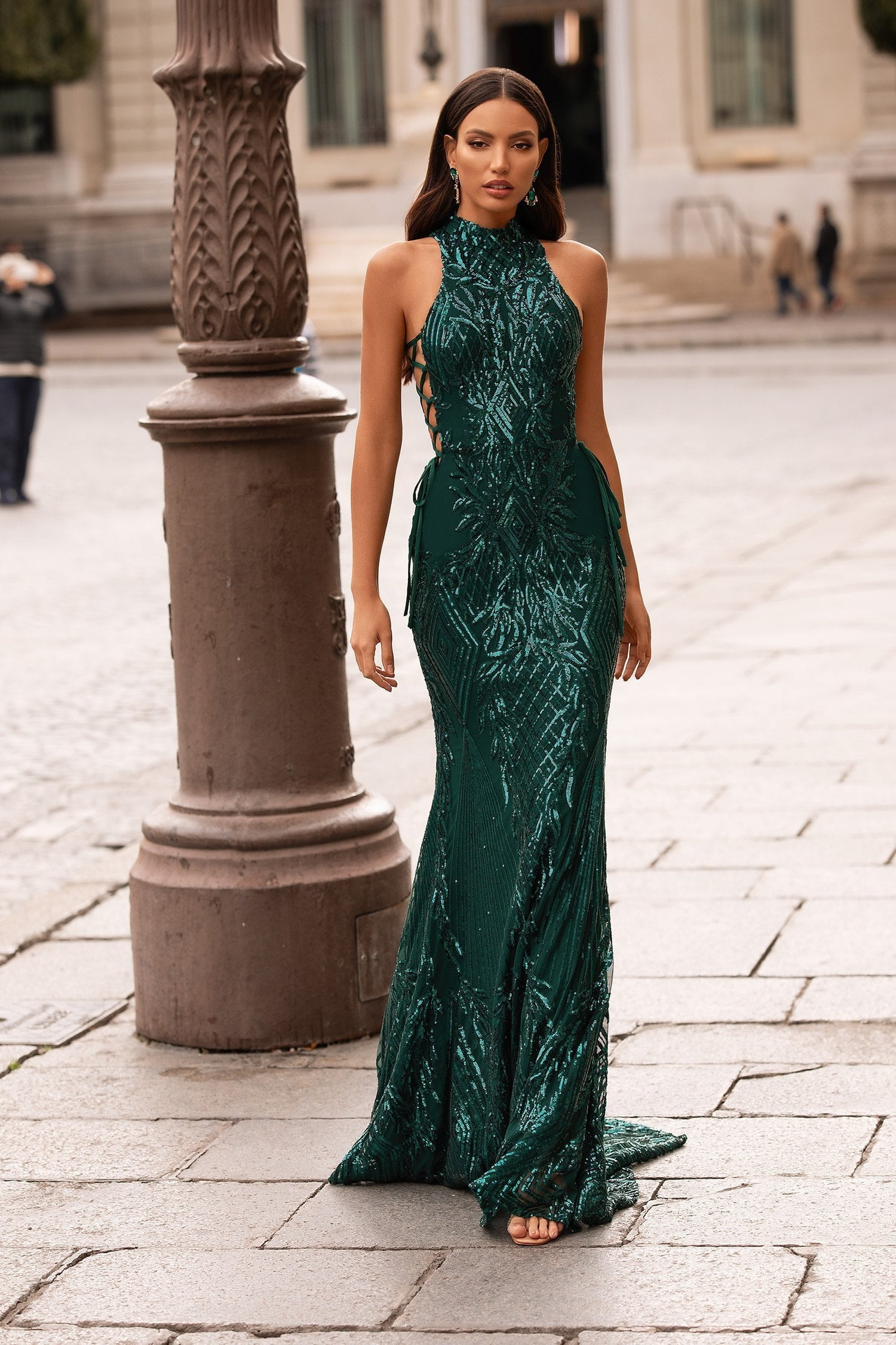 Belinda - Emerald Sequin Gown with High Neckline & Criss Cross Sides
