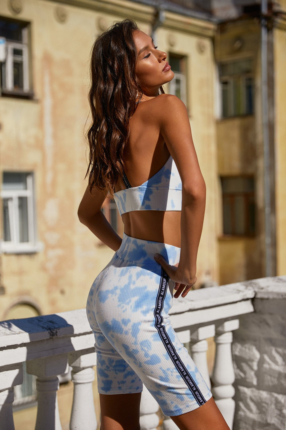 Izabel Set - Sky Blue Tie Dye Ribbed Set with Branding