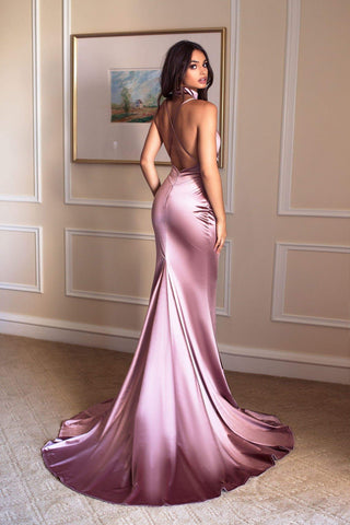 Amina Satina Gown - Rose Gold