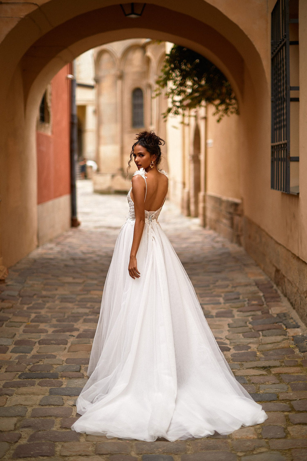 A&N Eliah - White Embellished Boho Bridal Gown with Plunge Neck & Slit
