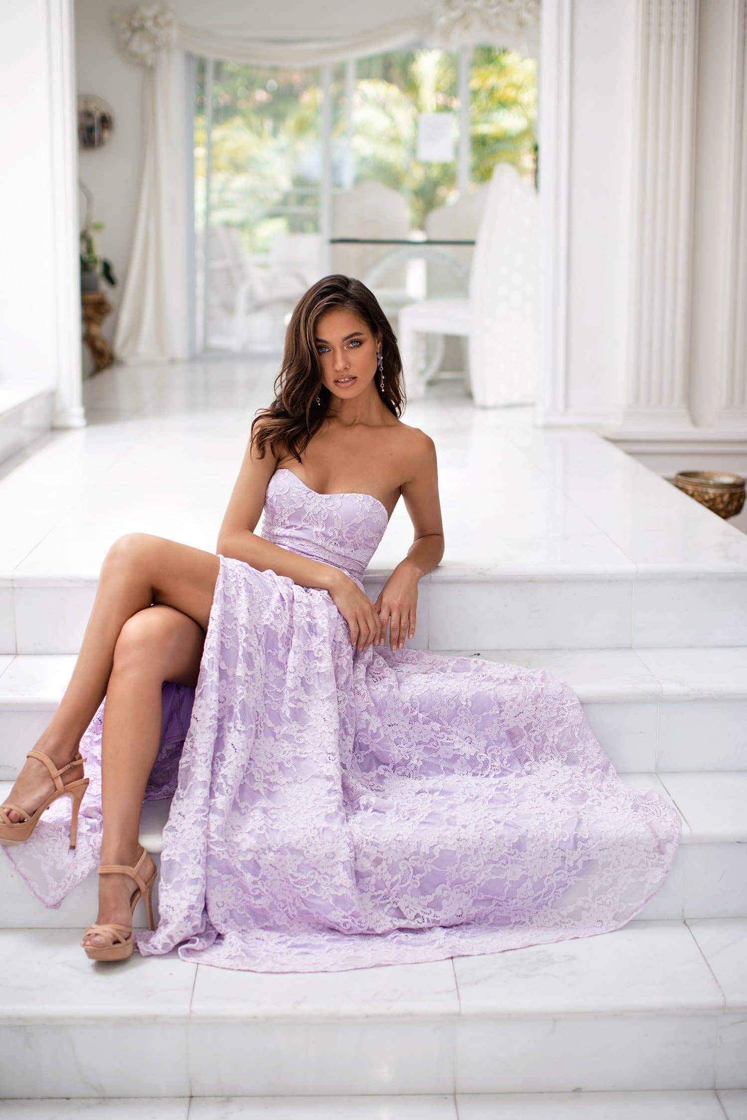 Milla - Lilac Strapless Lace A-Line Gown with Side Slit