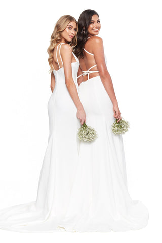 A&N Bridesmaids - Anika White Ponti Lace Gown with Lace-Up Back