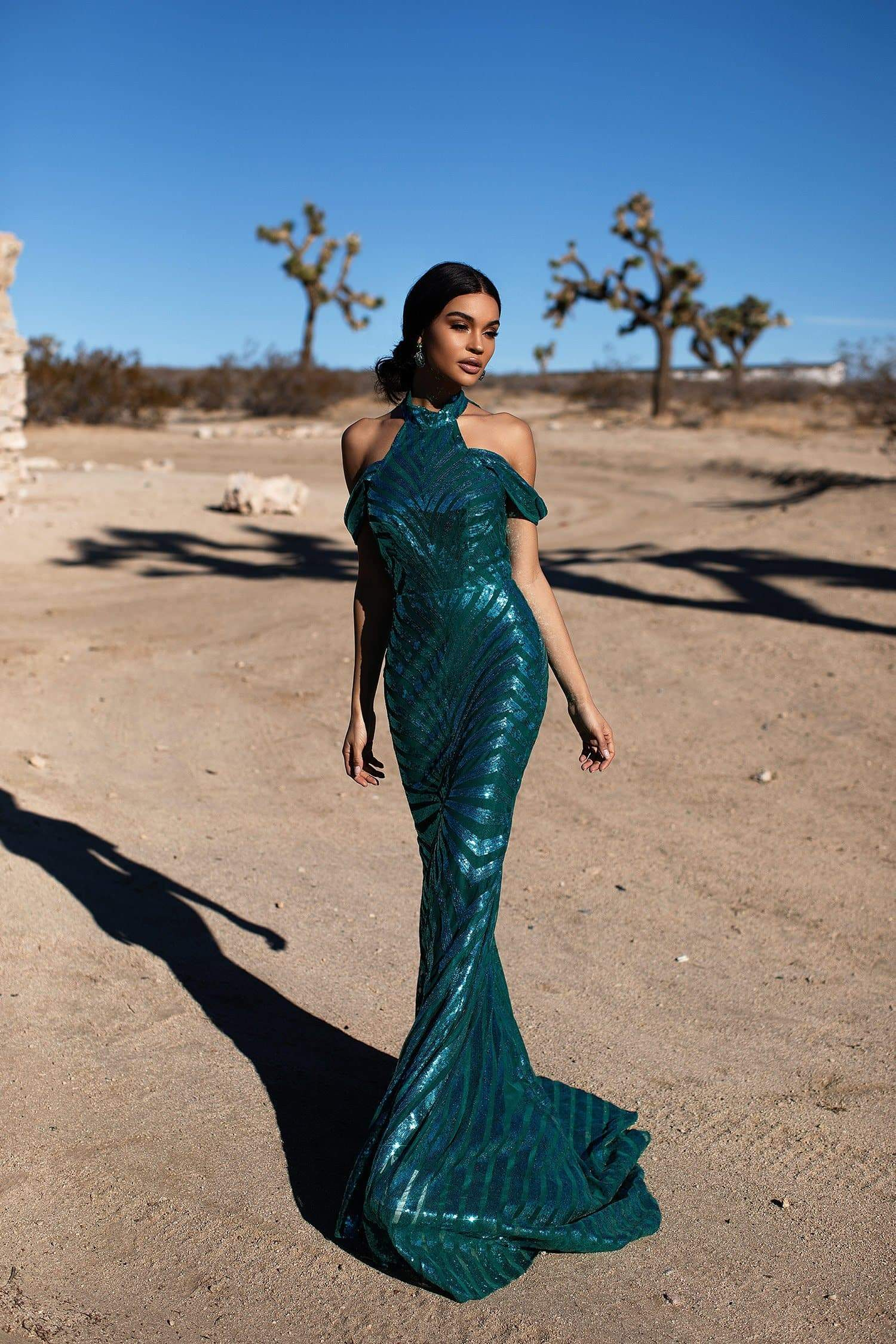A&N Luxe Zella -Emerald Sequin Mermaid Gown With High Neck & Open Back