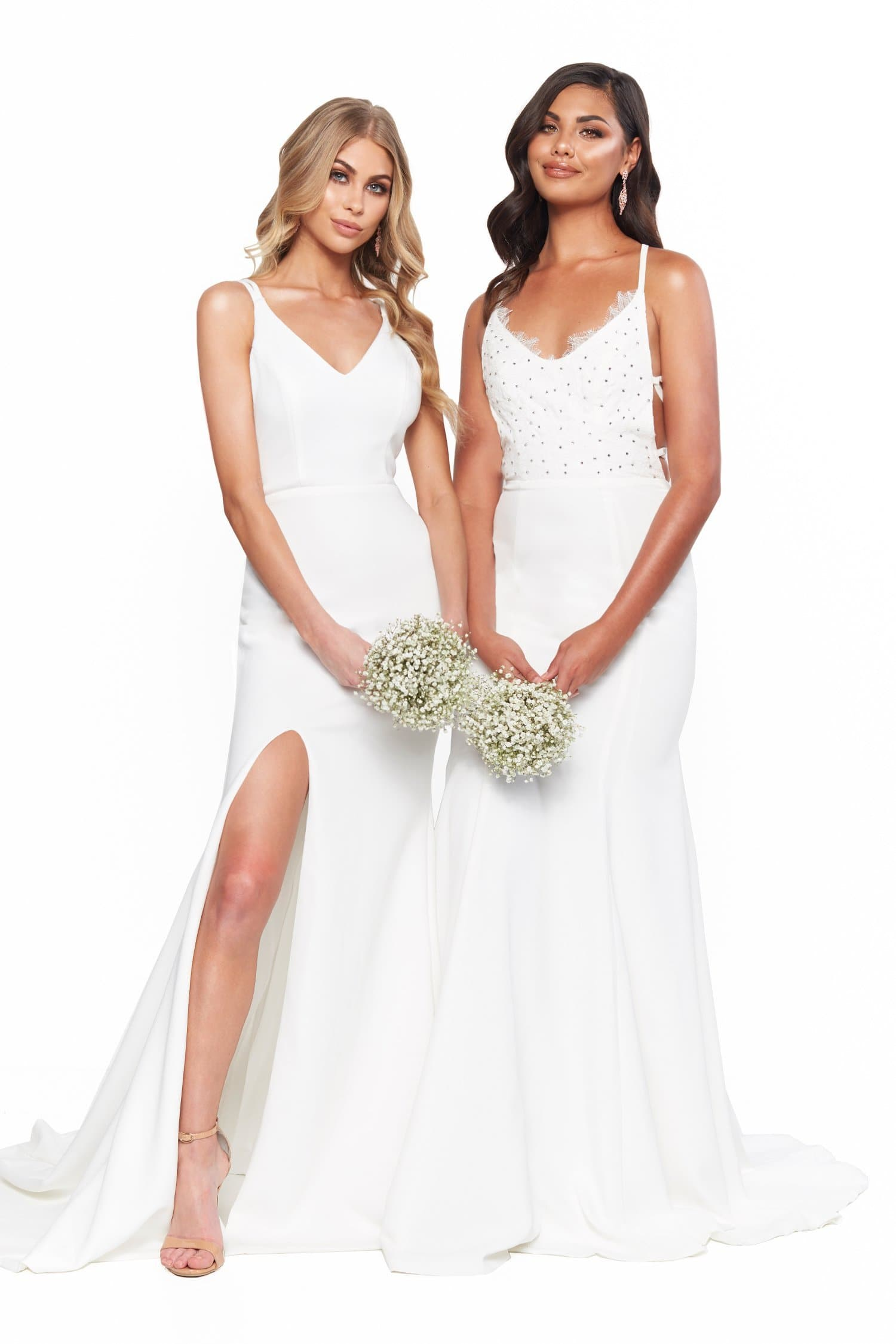A&N Bridesmaids Savannah Ponti Gown with V-Neck & Side Slit - White