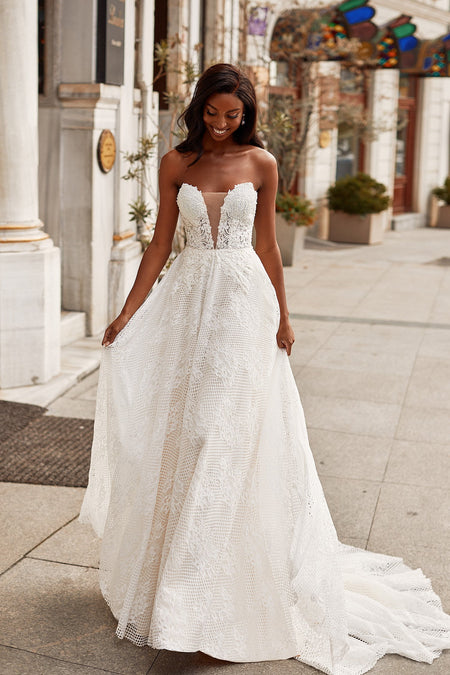 Laurensa Beaded Tulle Gown