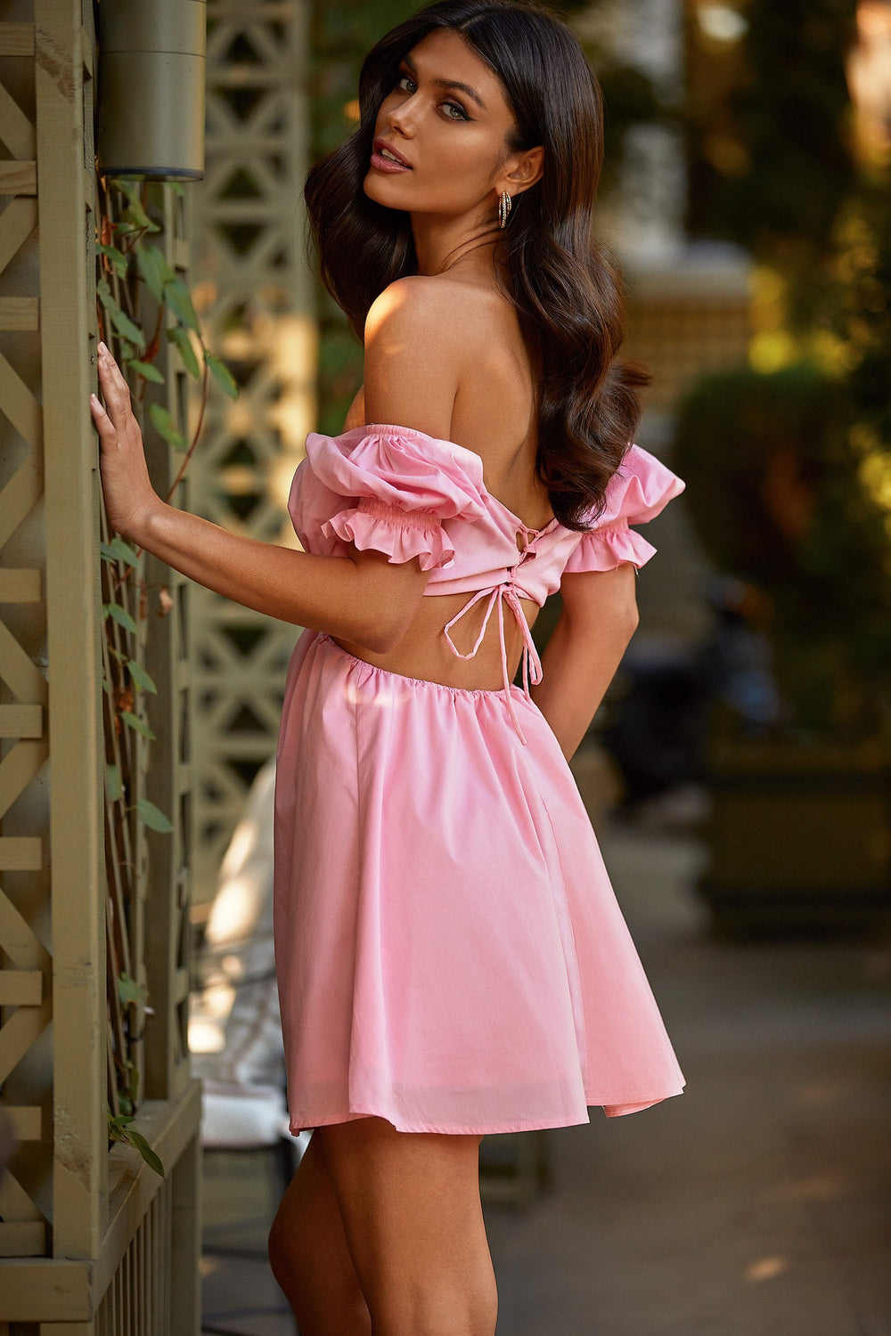 Addison - Pink A-Line Mini Dress with Lace-Up Back & Cut Out Waist