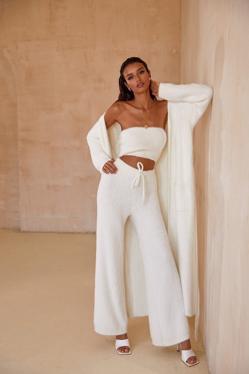 Kelly Robe - White Fluffy Long Sleeve Full Length Lounge Robe