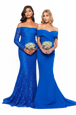 A&N Bridesmaids Daisy Shimmering Lace Off-Shoulder Gown - Royal Blue