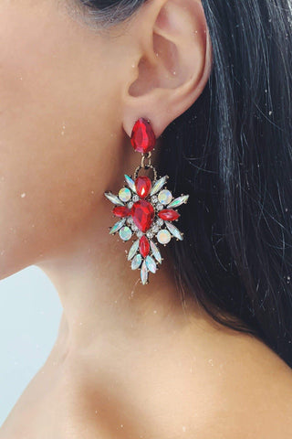 Glazori Makayla Red Crystal Statement Earrings